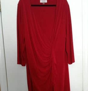 Red Faux Wrap Dress with Ruffles